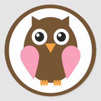 Pink Owl Classic Round Sticker
