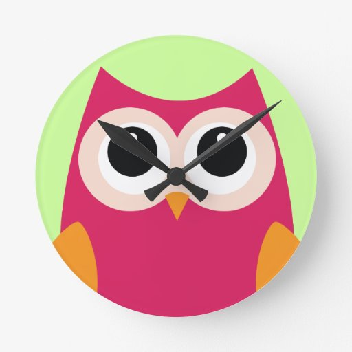 Pink Owl Clock