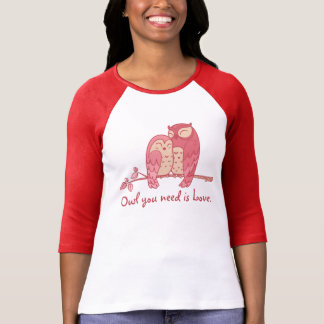 Pink Owl Couple with Pun T-Shirt