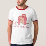 Pink Owl Couple with Pun Tshirts