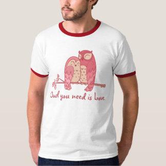 Pink Owl Couple with Pun Tshirts