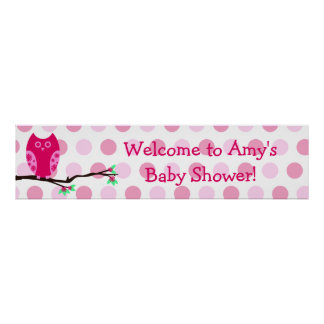 Pink Owl Custom Baby Shower Sign Posters