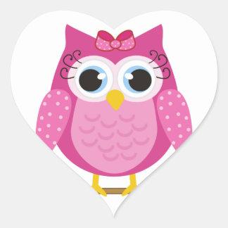 Pink Owl design Gifts Heart Sticker