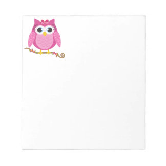 Pink Owl design Gifts Notepad