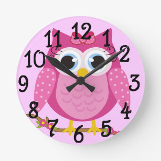 Pink Owl design Gifts Round Clock