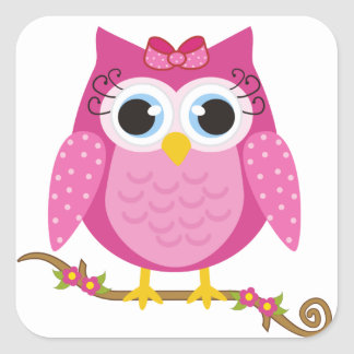 Pink Owl design Gifts Square Sticker