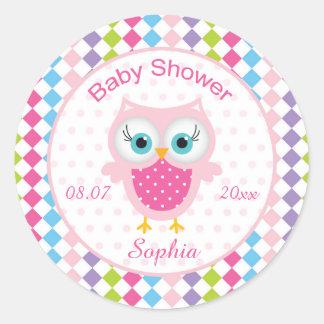 Pink owl, diamond pattern Baby Shower Sticker
