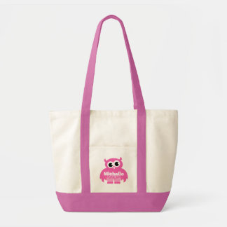 Pink owl diaper bag with personalized baby name