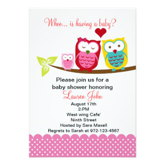 Pink owl family baby shower invitation