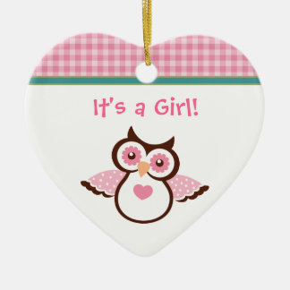 Pink owl girl's birth announcement ornament