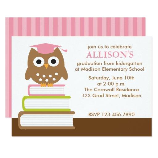Pink Owl Girls Graduation Card