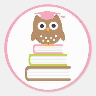 Pink Owl Graduation Envelope Seals Classic Round Sticker