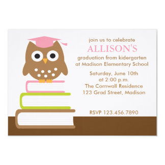 Pink Owl Graduation Party Invitations