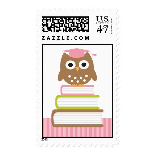 Pink Owl Graduation Postage