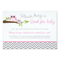 Pink Owl Gray Chevron Baby Shower Book Card