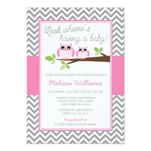 Pink Owl Gray Chevron Girl Baby Shower 5x7 Paper Invitation Card