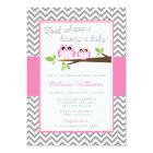 Pink Owl Gray Chevron Girl Baby Shower Card