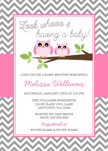Owl baby shower invitations announcements zazzle pink owl gray chevron girl baby shower invitation filmwisefo