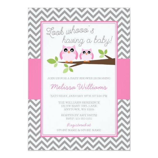 Pink owl gray chevron girl baby shower invitation zazzle pink owl gray chevron girl baby shower invitation filmwisefo