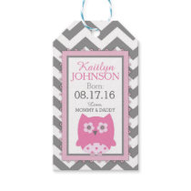 Pink Owl Grey White Chevron Baby Shower Gift Tags