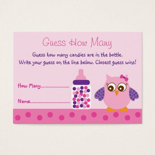 Pink Owl Guess How Many Cards