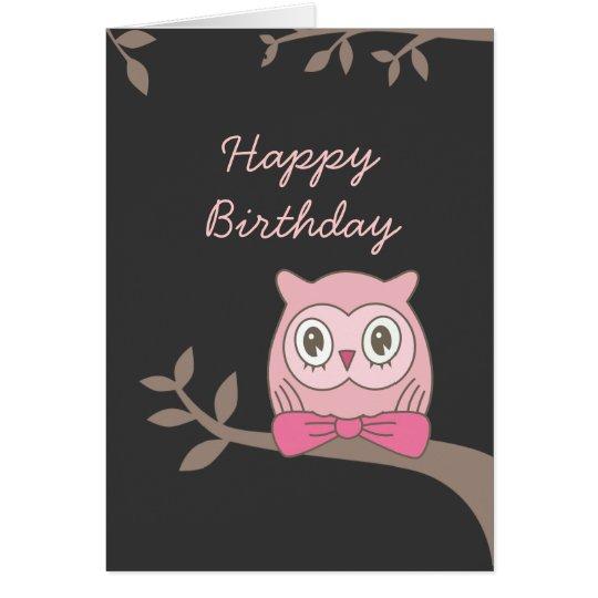 Pink Owl Happy Birthday Card Zazzle