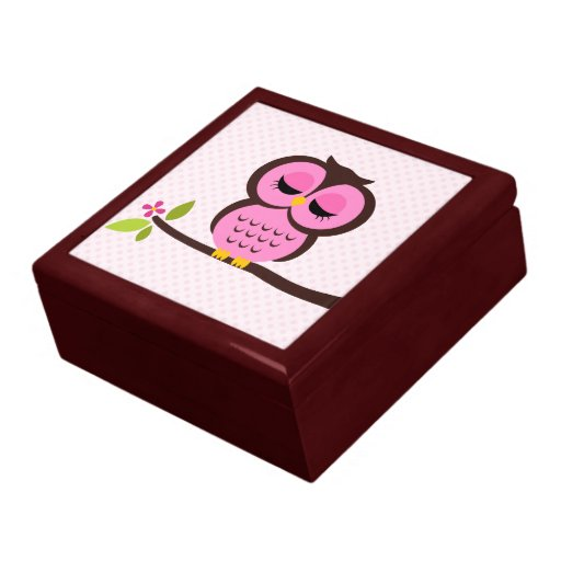 Pink Owl Illustration Keepsake Boxes