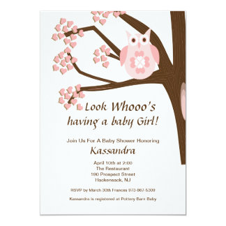 Pink Owl In A Tree Baby Girl Shower Invitation