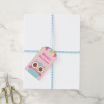 Pink Owl in Egg Girl Baby Shower Gift Tags