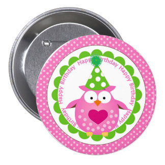 Pink Owl in Party Hat Birthday Pinback Button