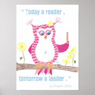 Pink Owl Inspirational Classroom Poster .