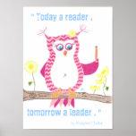 Pink Owl Inspirational Classroom Poster . Print
