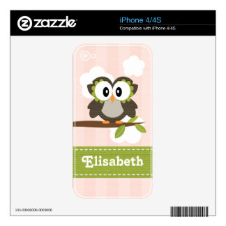 Pink Owl iPhone 4 / 4s Skin Decals For The iPhone 4S