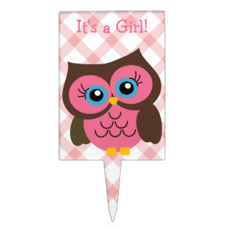Pink Owl Its a Girl Baby Shower Cake Topper