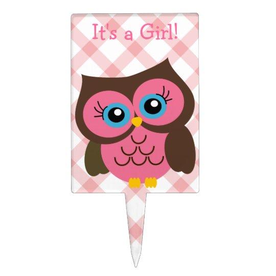 Baby Girl Owl Cake Topper