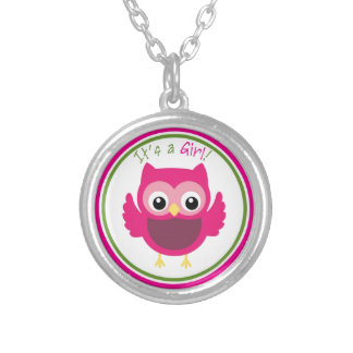 Pink Owl It's a Girl Round Pendant Necklace