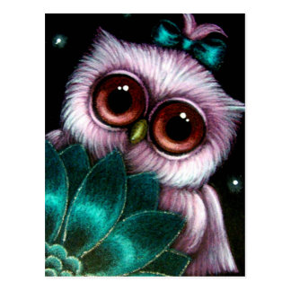PINK OWL - IT'S A GIRL POSTCARD
