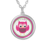 Pink Owl It's a Girl Silver Plated Necklace