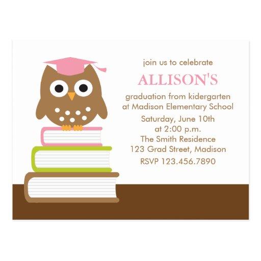 Pink Owl Kindergarten Graduation Postcard