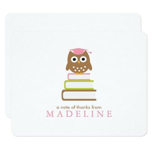 Pink Owl Kindergarten Graduation Thank You Card