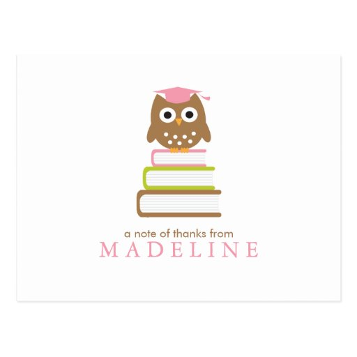Pink Owl Kindergarten Graduation Thank You Postcard