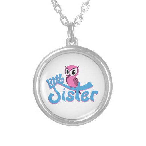 Pink Owl Little Sister Personalized Necklace