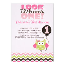 Pink Owl Look Who's One Birthday Invitation