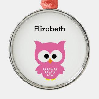 Pink Owl Metal Ornament