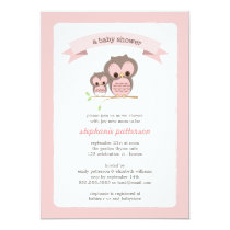 Pink Owl Mommy & Baby Shower Invitation