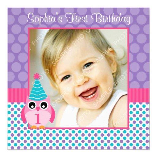 Pink Owl Multi Polka Dot 1st Birthday Girl Photo Custom Invites