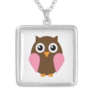 Pink Owl Square Pendant Necklace