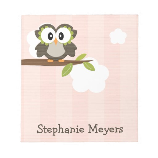 Pink Owl Notepad Personalized