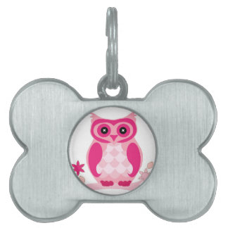 Pink Owl on a branch, Cute Pet Tag