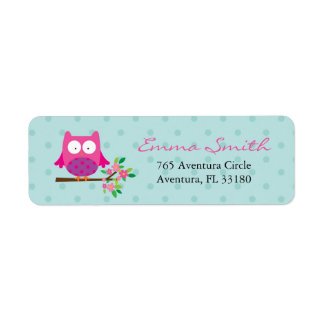Pink Owl on a branch personalized address labels